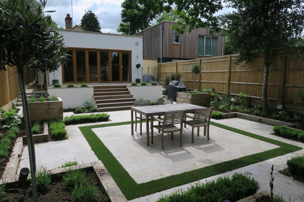 small contemporary paved garden new leaf landscape gardener